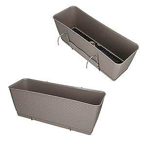 prosperplast blumenkasten mit wasserspeicher untersetzer halterung blumentopf balkonkasten. Black Bedroom Furniture Sets. Home Design Ideas