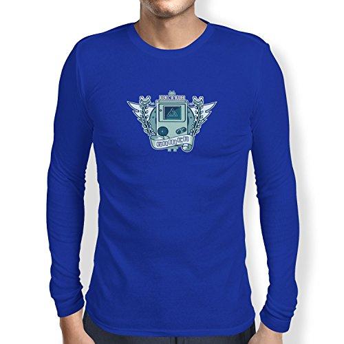 (NERDO - Retro Gamer Logo - Herren Langarm T-Shirt, Größe XXL, marine)