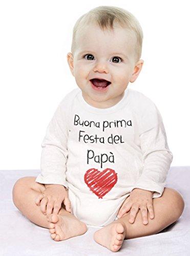 Buona Prima Festa del papà – Regalo per Il Padre Body Neonato Manica Lunga 3-6 Mesi Bianco - 3