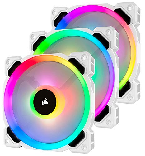 Corsair LL120 RGB LED PWM PC-Gehäuselüfter (120mm Dual Licht Loop RGB LED, Dreierpack mit Lighting Node PRO) weiß