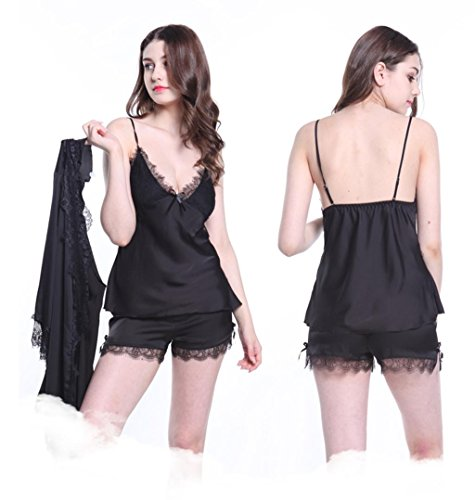 GHFDSJHSD Frauen Nachtwäsche Sexy Dessous Set Satin Spitze 3 Stück Cami Weste Und Elastische Schlüpfer Shorts Pyjamas, XXL [134-145 kg] -