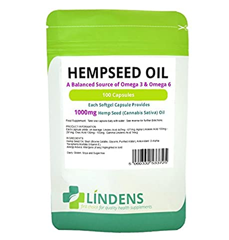 Lindens Hempseed Oil 1000mg 100 Capsules Omega 3 6 9 in perfect balance
