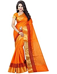 Nirja Creation Women's Silk Printed Saree With Blouse Piece - NC-FR-739_Orange_Free Size