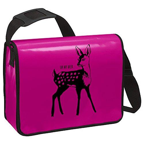 Schultertasche Schultasche Planentasche Umhängetasche Reh oh my deer ta221 - ausgewählte Farbe: *Weiß - schwarzer Aufdruck* Pink - schwarzer Aufdruck