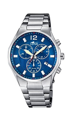 Lotus Men's Quartz Watch with Blue Dial Chronograph Display and Silver Stainless Steel Bracelet 10125/3