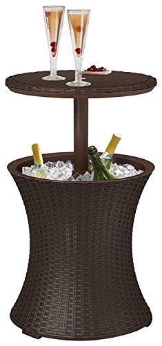 Koll Living Kühltisch in braun - 3in1 - Bistrotisch und Kühlbox in Einem - kühle Getränke stets griffbereit - Stehtisch für Party, Grill- oder Gartenfest