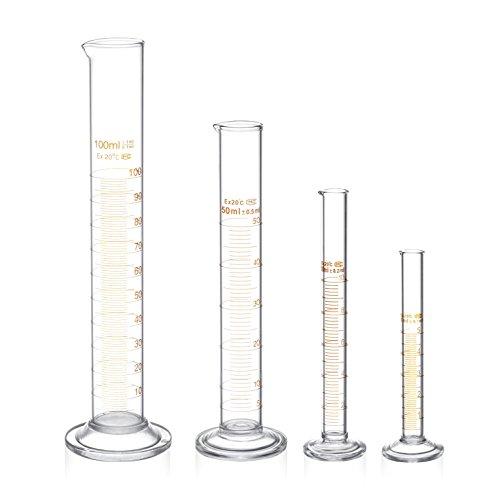 Glas Messzylinder Set Graduierung Messwerkzeuge Flüssigkeit 5ml 10ml 50ml 100ml Glas mit zwei Bürsten Klare Skala Labor