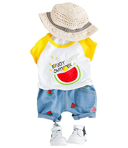 by Boy Gentleman 2Pcs Suit Rose Fliege T-Shirt Shorts Hosen Outfit Kleidung Set ()