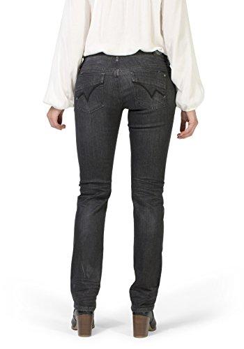Timezone Damen Straight Jeans Slim Tahila Super Stretch Schwarz (Black Vintage Wash 9019)