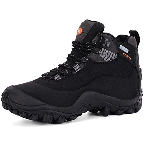 XPETI Scarpe da Trekking Uomo Estive, Trail Impermeabili Mid Alpinismo Hiking Calzature Escursionismo Tecnica Montagna Basse Backpacking Walking Outdoor Nero 41