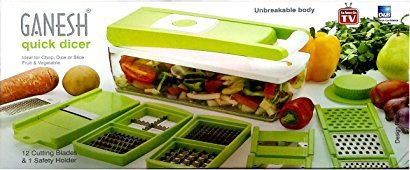 GANESH-14 In One Quick Dicer, Ideal For,Chop,dice Or Slice Fruit & Vegetable, Unbreakable Body.