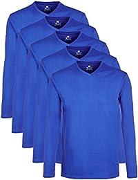 Lower East Herren Langarmshirt mit V-Ausschnitt, 5er Pack