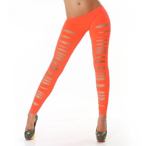 Jela London Damen Leggings Leggins Hose Lang CutOuts Risse Tapered Neon Orange