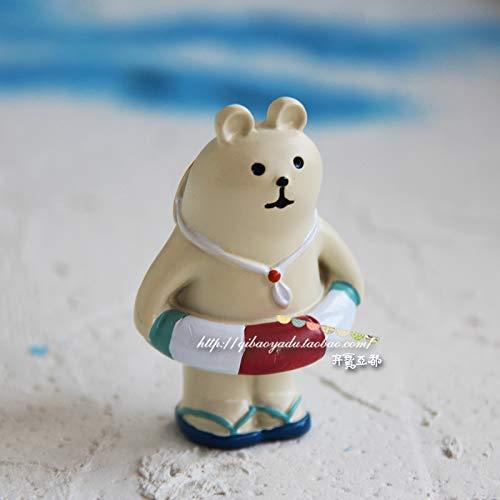 GBYJ Decoracion Seaside White Bear Travel Cat Black Bear Coco Doll Decoración del Coche, Lifebuoy White Bear