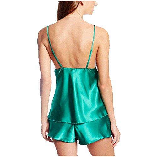 partiss Femme Sexy Voir à travers lace-trimmed antidérapant Sexy Vert - Vert