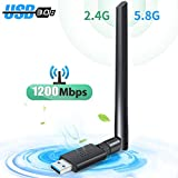 WLAN Stick WLAN Adapter PC USB 3.0 WiFi Adapter WiFi Dongle mit Thermisches Design 1200Mbit/s Dualband (5 G/867Mbps+2.4G/300Mbps) 5dBi Antenne für Windows/Mac OS/Linux/Desktop/Laptop/Notebook