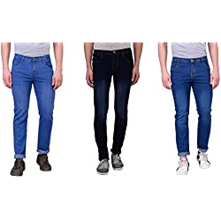 LONDON LOOKS BLACK & BLUE & LIGHT BLUE JEANS COMBO OF 3 (30)