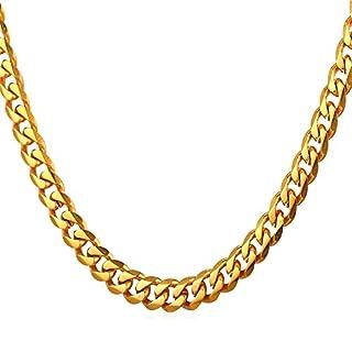 U7 6mm Herren Halskette 18k vergoldet Edelstahl Panzerkette Gliederkette für Männer Gold Ton Hiphop Biker Rocker Kette (Länge 55cm)