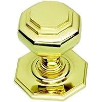 In ottone lucido maniglia/manopola porta Centro ottagonale (pb15a)