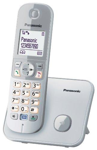 Panasonic KX-TG6811 - Teléfono fijo digital (inalámbrico, pantalla LCD, identificador de llamadas, 120 entradas), plateado (importado)
