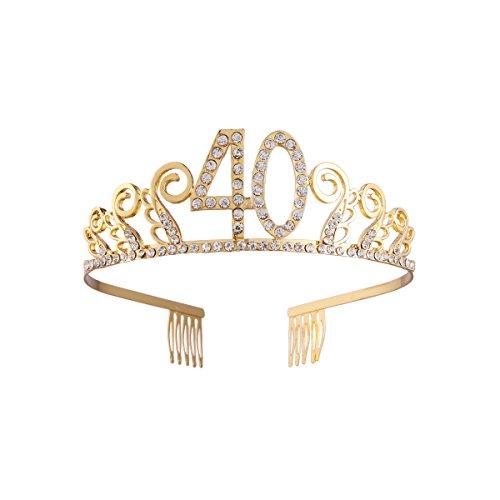 Strass Geburtstag Tiaras und Kronen Königin Kristall Krone Party Supplies Happy 40th Birthday (Golden)