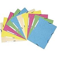 Exacompta - Réf. 55550E - Lot de 10 chemises 3 rabats à élastiques carte lustrée 400g/m2  - A4 - couleurs assorties pastel