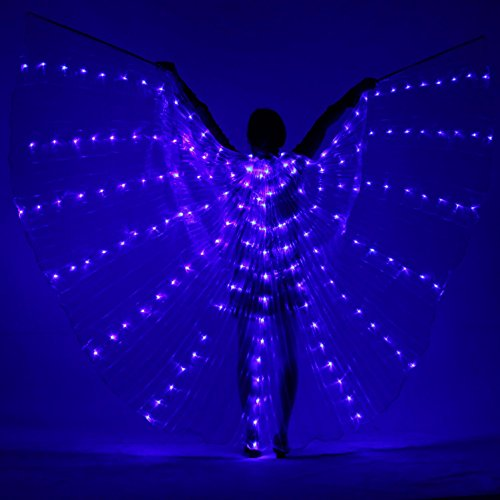 Belly Dance LED Isis Flügel Women's Performance 3 Stücke Belly Dancing Accessory Stage Performance 8 Requisiten Farben verfügbar Weihnachten , Blue , one (Tanz Auf Kostüme Linie)