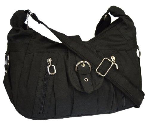 Schwarze Stoff-handtasche (Tasche Damentasche Handtasche Stofftaschen Schultertasche 1449 (Schwarz))