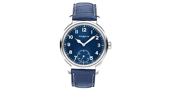 Montblanc Homme 44mm Bracelet Cuir Boitier Acier Inoxydable Mécanique Cadran Bleu Analogique Montre 113702: Amazon.fr: Montres