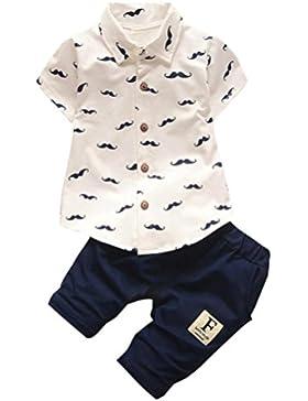 ❤️Ropa para niños bebés Conjunto, Tefamore Conjunto de ropa de barba Tops + Shorts Pants Outfit , 3-24M (Blanco...