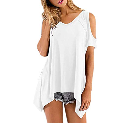 CUTUDE Damen T Shirt, Bluse Kurzarm Sommer Volltonfarbe V-Ausschnitt Schulterfreies Fledermaus Loses lässiges Weste Oberteil Top Mode 2019 (Weiß,X-Large) -