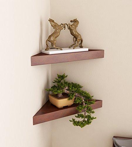 Home Sparkle Wooden Corner Wall Shelf, Set of 2 (Brown)