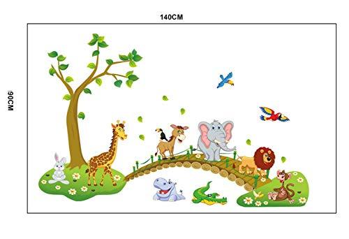 Adesivi murali giungla animale selvatico albero ponte leone giraffa elefante uccelli fiori per camera dei bambini soggiorno arredamento per la casa