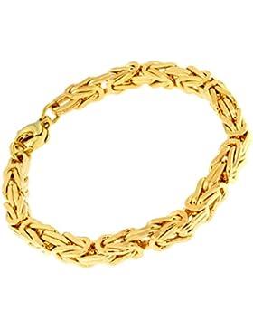 Königsarmband 18kt Gold Double, 6mm quadratisch, Länge wählbar, Armband Herren-Armband Goldarmband Damen Geschenk...