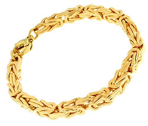 Gold Double, 6mm quadratisch, Länge 23cm, Armband Herren-Armband Goldarmband Damen Geschenk Schmuck ab Fabrik Italien tendenze, BZGYs6-23 ()