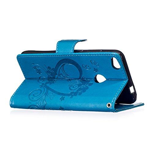 Custodia Cover Huawei P8 Lite 2017 - ISAKEN Accessories Cover in PU Pelle Portafoglio Tinta Unita Custodia, Elegante Fiori Farfalle Pattern Design in Sintetica Ecopelle Libro Bookstyle Wallet Flip Por Amore: blu