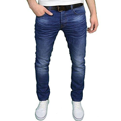 Crosshatch Herren Designer Marken Slim Fit Fashion Jeans W/gratis Gürtel Blau - Midwash