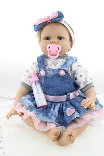 Nicery Renacido de la Reborn muñeca de silicona suave 22inch 55cm magnetica Boca precioso realista linda del muchacho del corazon de la muchacha del juguete azul de la flor Reborn Baby Reborn Doll
