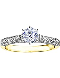 Silvernshine 1 Ct Round Cut Cubic Zirconia Diamond Solitaire Engagement Ring In 14k Yellow Gold FN