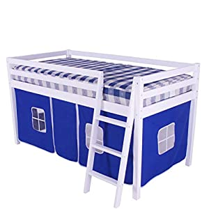 White Shorty Cabin Bed Blue Tent Boys Junior Mid Sleeper