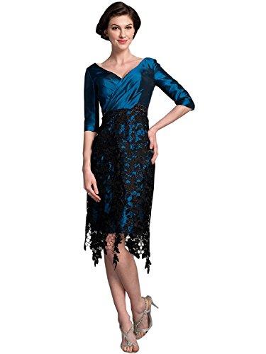 Dressvip Femme Robe Mère de Cocktail Moulante Longueur Genou Dos Nu Manches 1/2 en Satin Bleu Bleu