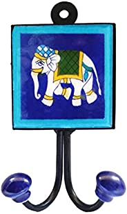SHIV KRIPA Blue Pottery Ceramic Decorative Tile Wall Hook (Multicolour)