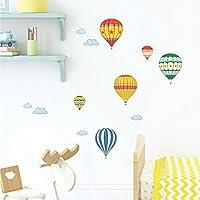 Decowall DS-8011 Globo de Aire Caliente Colorido Vinilo Pegatinas Decorativas Adhesiva Pared Dormitorio Salón Guardería Habitación Infantiles Niños Bebés (Pequeña)