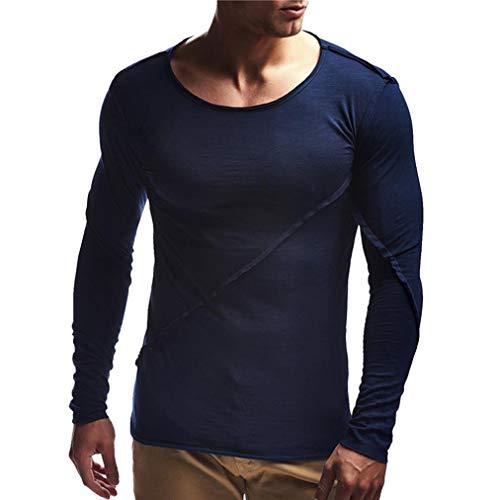 MRULIC Sweatshirt Herren Solid Langarm Shirt Top Slim Rundhals Classics T-Shirt(Marineblau,EU-52/CN-3XL)
