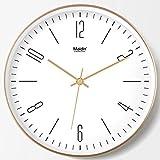 WJXBoos Moderne 100% Metal Leise Wanduhr, Wohnzimmer Mode Dekorative Hängende Uhr Kein Ticken Quarzuhr Weißes Zifferblatt-Gold 13 Inch (33 cm)