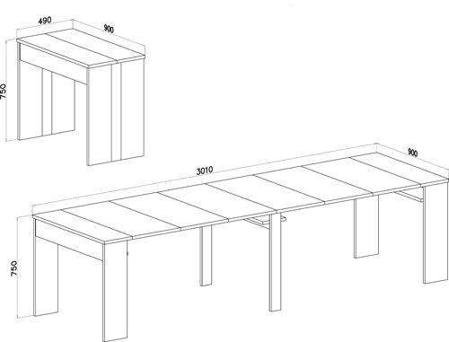 Home Innovation – Tavolo consolle allungabile fino a 301cm, rovere chiaro, dimensioni chiusa: 90 x 49 x 75 cm.