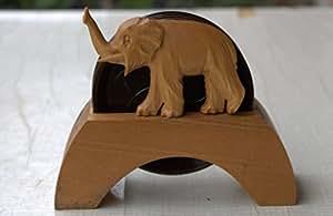 Lot de 6 dessous-de-plat/dessous-de-plat en bakélite au bloc en bois motif éléphant 50 années 60–ne rétro années 60