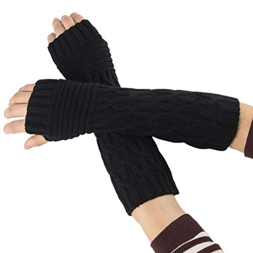 Kuvuiuee Handschuhe Frauen Herren Winter Chunky Crochet Fingerlose Handschuhe Cross Stripes Gestrickte Armlinge Einfarbig Elastische Handschuhe Mit Daumenloch