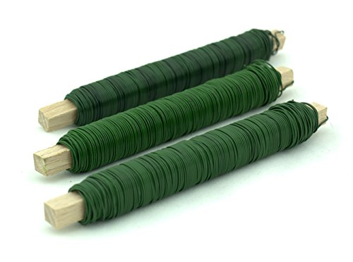 Wickeldraht grün 3x 100g Basteldraht Vorrats-Set 0,65mm Durchmesser auf Holzkern
