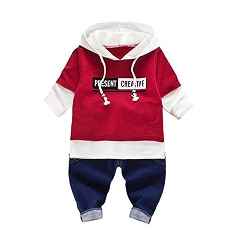 Kleidung Set Kolylong® 1 Set ( 0-24 Monate) Baby Jungen Mädchen Herbst gedruckt Anzug (Tops + Hose) T-shirt Sweatshirt Outfits Kleiderset (90CM (12-18 Monate), Wein)